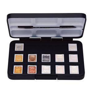 van Gogh Aquarell Pocket Box Interferenz Metallic Edition mit 12 halben Näpfchen von Royal Talens